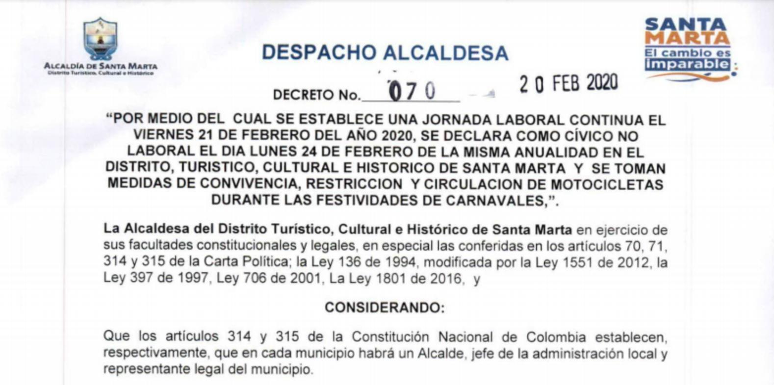 Gobierno Distrital decreta día cívico no laboral y restringe circulación de motocicletas para los días del Carnaval