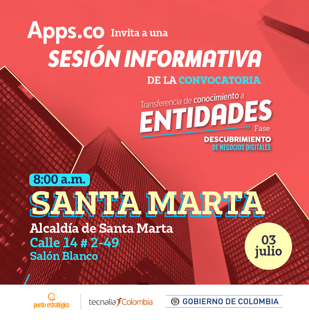 Se socializará la convocatoria Transferencia de conocimientos de Apps.co a entidades de Santa Marta