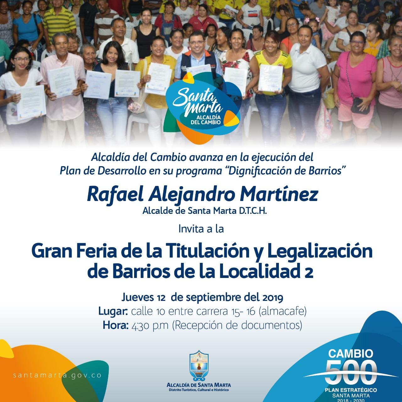 Este jueves, Gran Feria de la Titulación y Legalización llega a la Localidad Dos