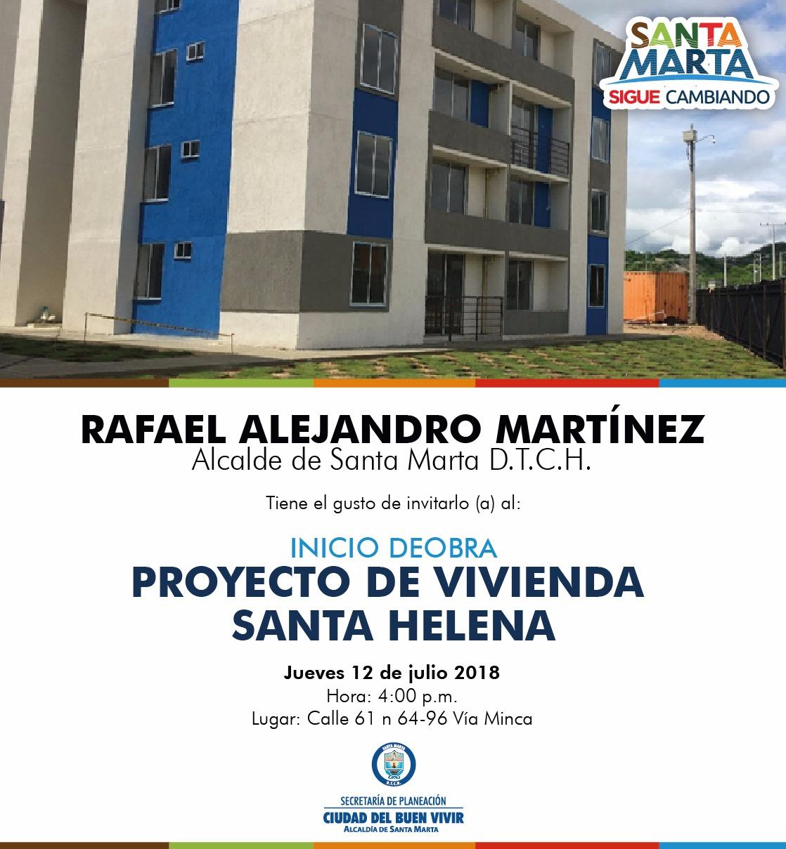 Alcalde dará inicio al proyecto de vivienda 'Santa Helena'