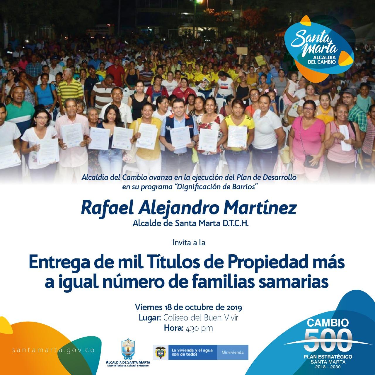 Alcalde Martínez entregará mil títulos de propiedad a familias samarias