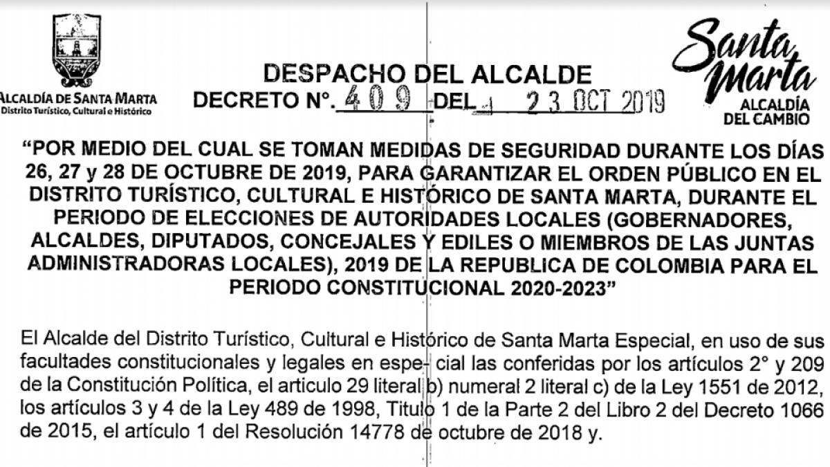 Alcaldía del Cambio expide decreto para garantizar seguridad y orden en elecciones territoriales