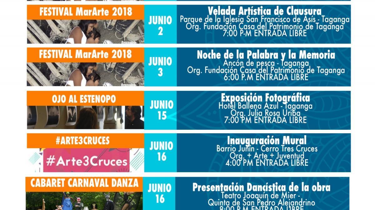 Programación cultural de Santa Marta para el mes de junio
