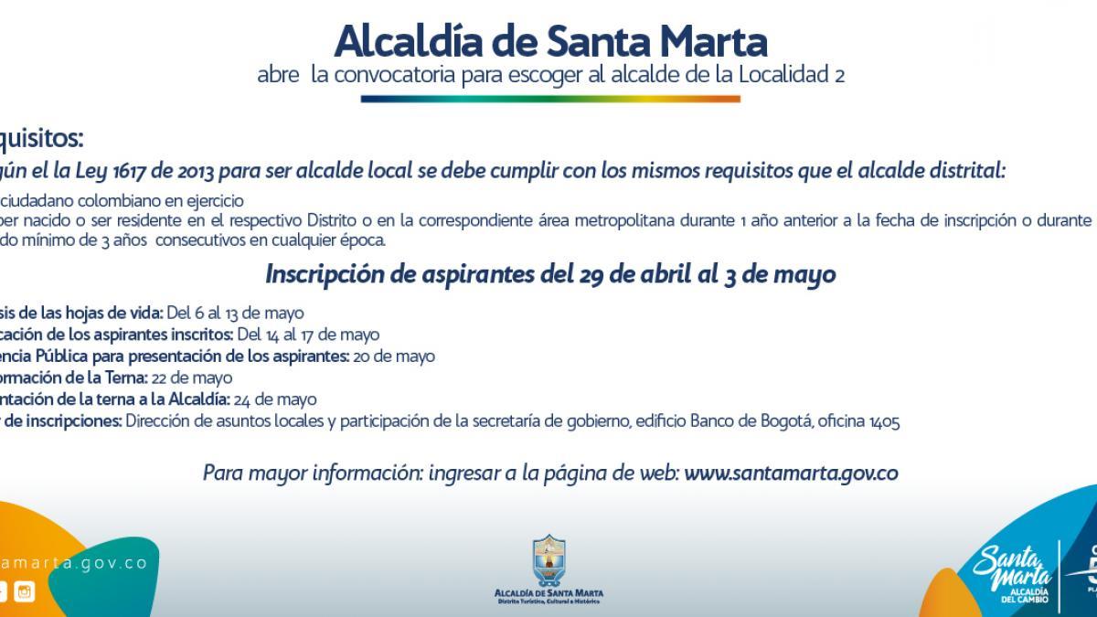 Alcaldía de Santa Marta abre la convocatoria para escoger al alcalde de la Localidad 2
