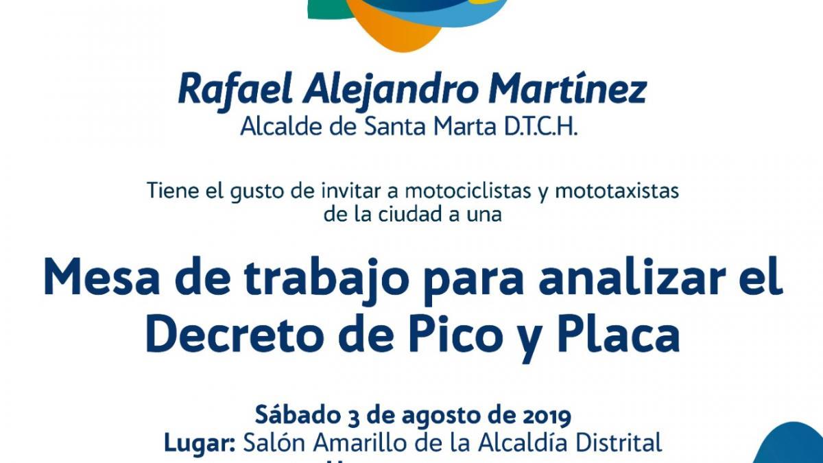Alcalde Martínez liderará mesa ampliada con motociclistas y mototaxistas de Santa Marta