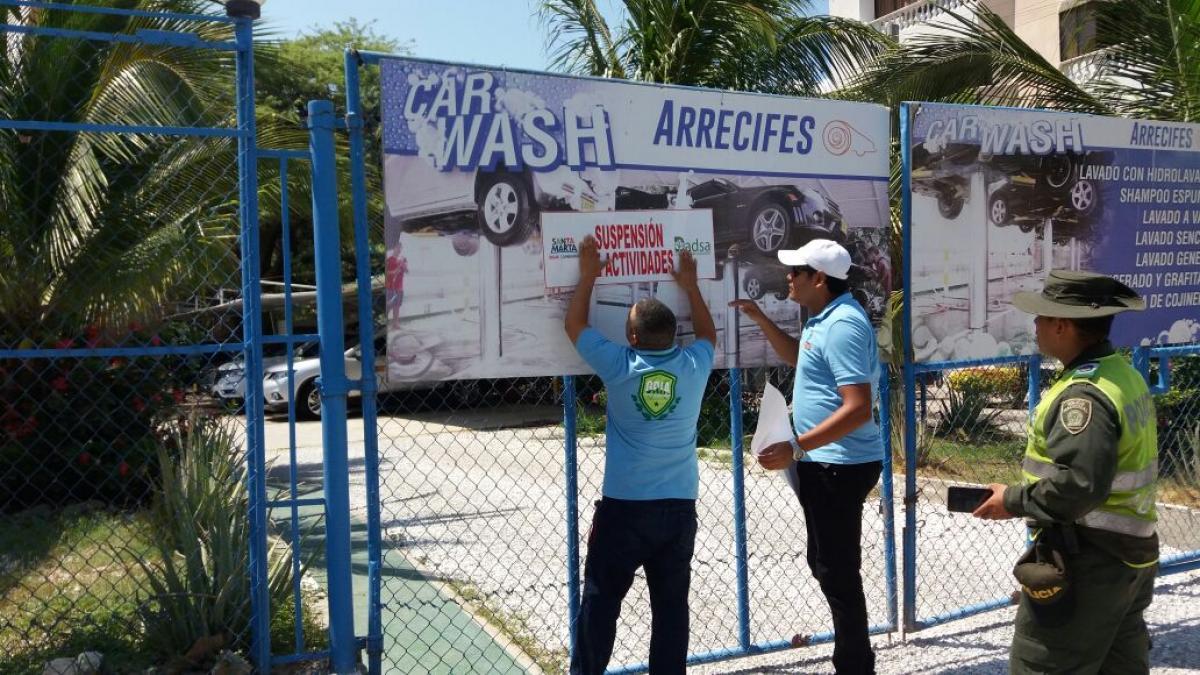 Dadsa suspende a 8 establecimientos en el Centro Histórico y a 3 lavaderos en El Rodadero