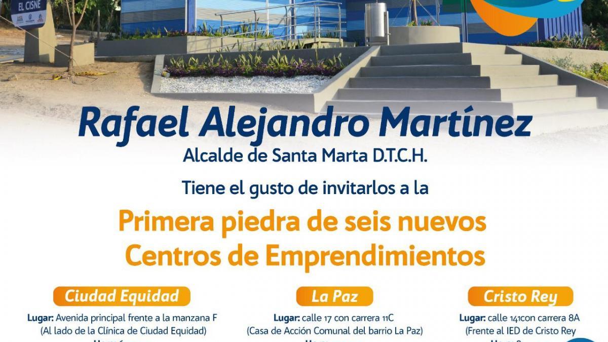 Más obras del Cambio, Alcalde Martínez coloca primeras piedras de seis Centros de Emprendimiento