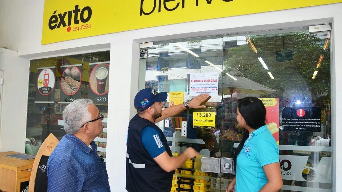 Distrito cierra temporalmente establecimiento comercial en El Rodadero