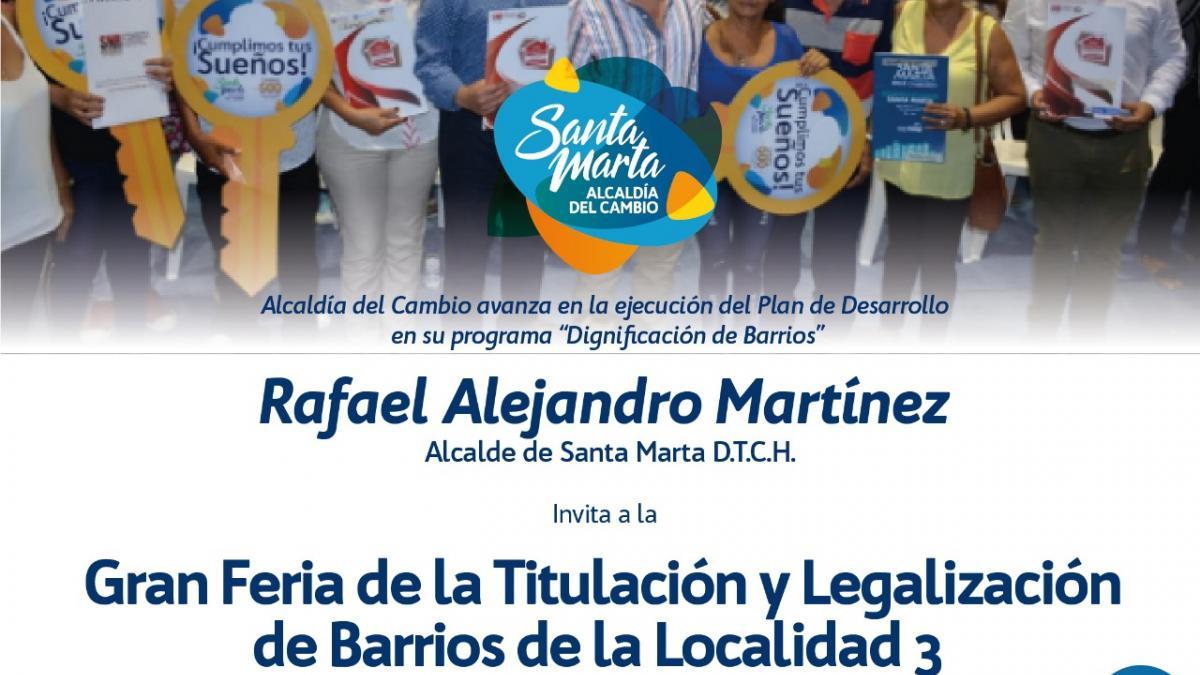 Este viernes, Tercera Gran Feria de la Titulación y Legalización de la Localidad tres