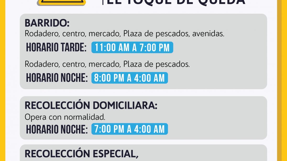 Se modifican horarios de atención del servicio de aseo