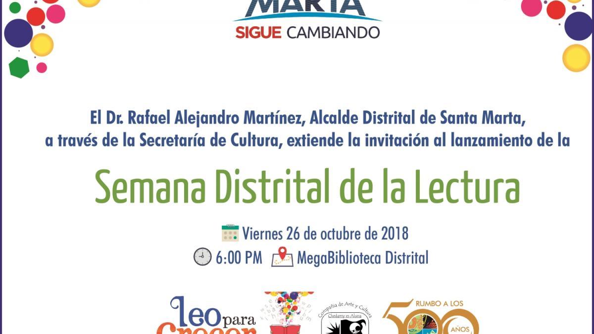 Este viernes 26 de octubre Distrito inicia Semana de la Lectura