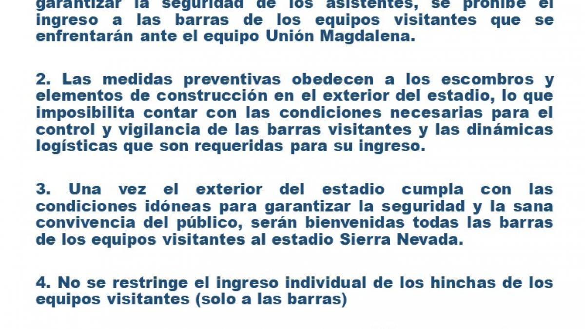 Prohibición de barras visitantes al estadio Sierra Nevada