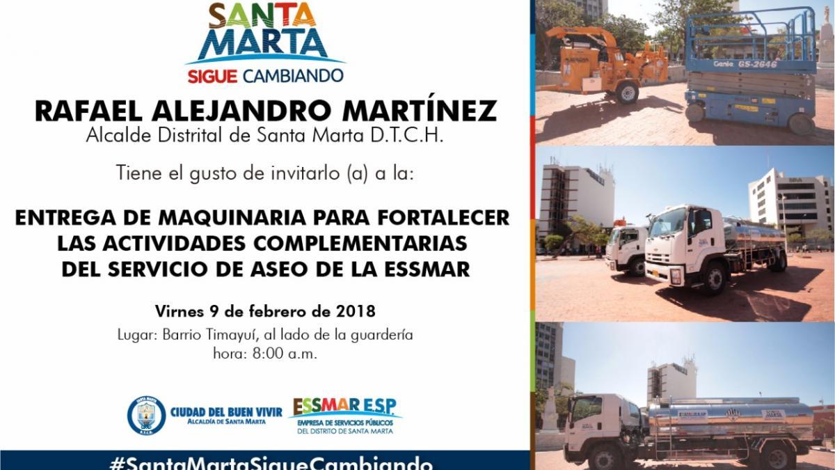 Alcalde Rafael Martínez entregará maquinaria para fortalecer servicio de aseo de la Essmar
