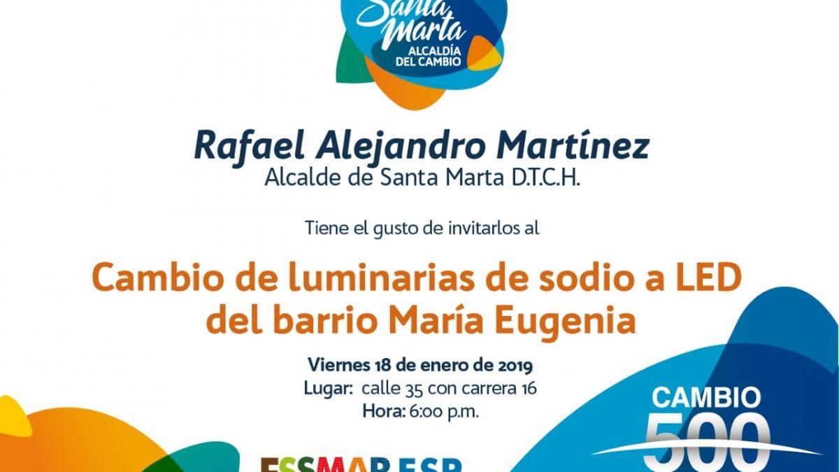 Alcalde Rafael Martínez entrega luminarias LED en María Eugenia