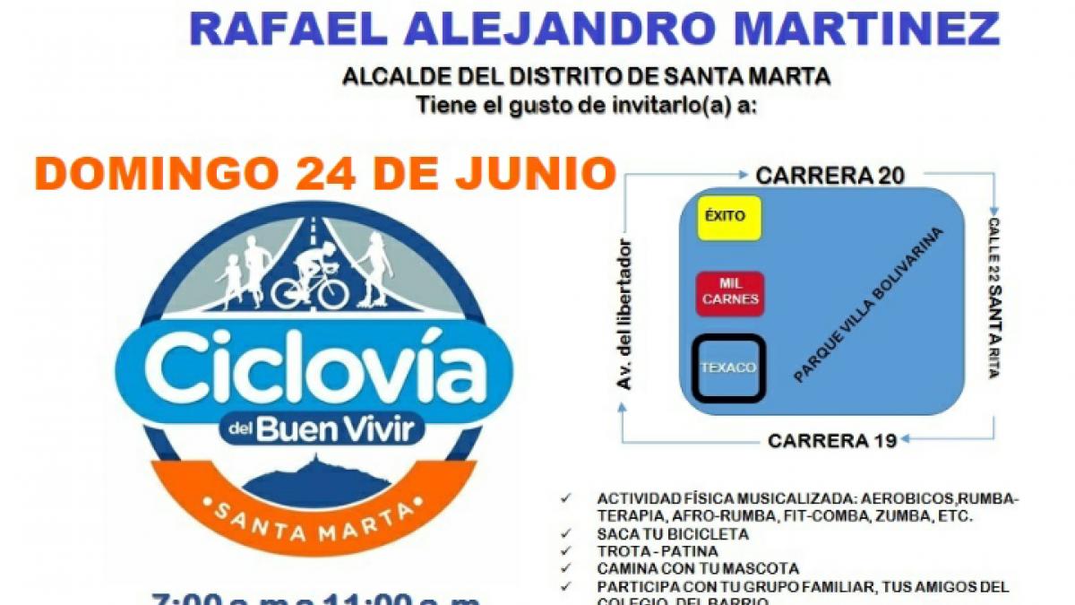 """Ciclovía del """"Buen Vivir"""" se vestirá  de amarillo Colombia"""