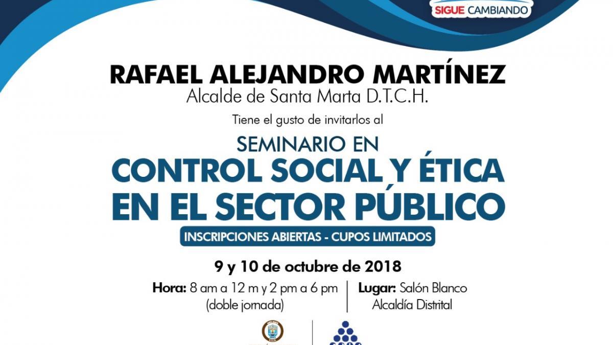 Abren inscripción en seminario sobre control social en el sector público para líderes